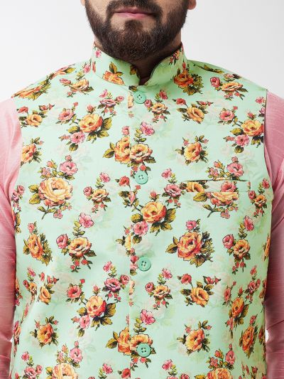 Sojanya (Since 1958), Men's Silk Blend Pink Kurta With Pyjama & Green Printed Nehrujacket Combo