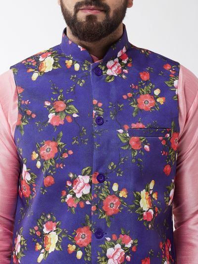 Sojanya (Since 1958), Men's Silk Blend Pink Kurta With Pyjama & Royal Blue Printed Nehrujacket Combo