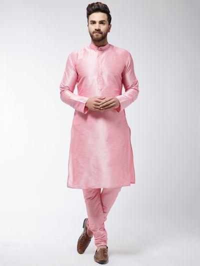 Sojanya (Since 1958) Men's Silk Blend Pink Kurta & Churidaar Pyjama Set