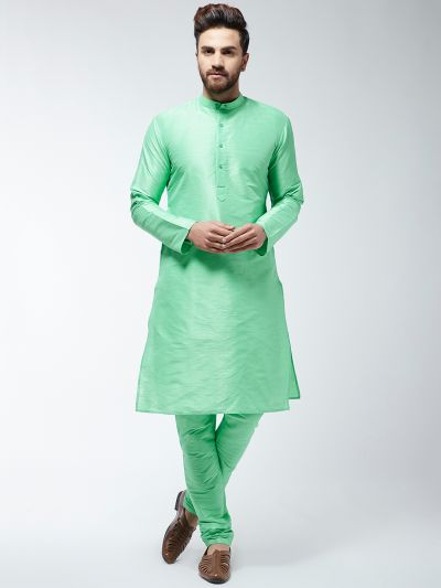 Sojanya (Since 1958) Men's Silk Blend Light Green Kurta & Churidaar Pyjama Set