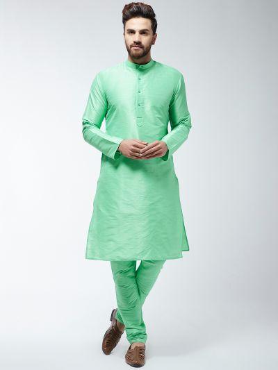 Sojanya (Since 1958) Men's Silk Blend Light Green Kurta & Churidaar Pyjama Set