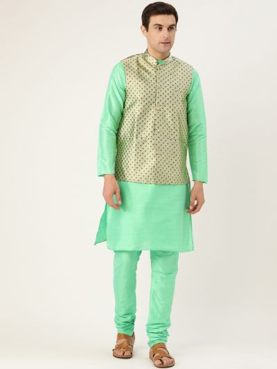 Sojanya (Since 1958) Men's Silk Blend Green Kurta Pyjama & Pista Green Nehrujacket Combo