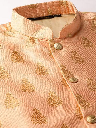Sojanya (Since 1958) Men's Silk Blend Royal Blue Kurta Pyjama & Peach Nehrujacket Combo