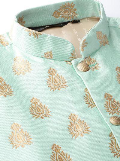 Sojanya (Since 1958) Men's Silk Blend Royal Blue Kurta Pyjama & Sea Green Nehrujacket Combo