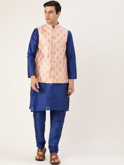 Sojanya (Since 1958) Men's Silk Blend Royal Blue Kurta Pyjama & Pink Nehrujacket Combo