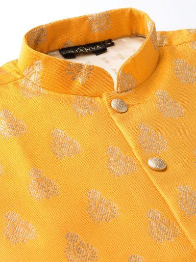 Sojanya (Since 1958) Men's Silk Blend Royal Blue Kurta Pyjama & Mustard Nehrujacket Combo