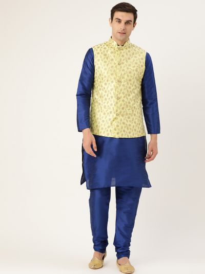 Sojanya (Since 1958) Men's Silk Blend Royal Blue Kurta Pyjama & LimeGreen Nehrujacket Combo