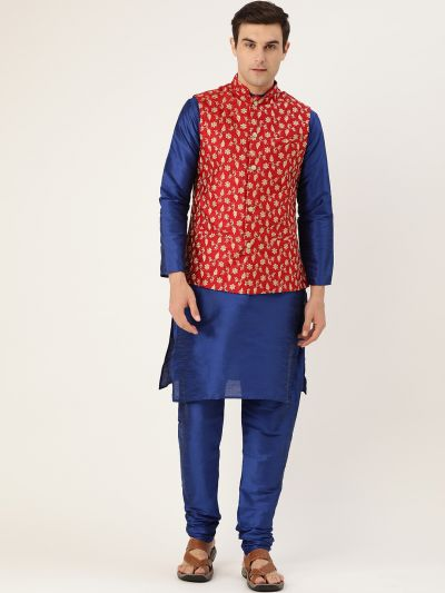 Sojanya (Since 1958) Men's Silk Blend Royal Blue Kurta Pyjama & Red Nehrujacket Combo