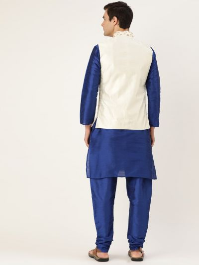 Sojanya (Since 1958) Men's Silk Blend Royal Blue Kurta Pyjama & Cream Nehrujacket Combo