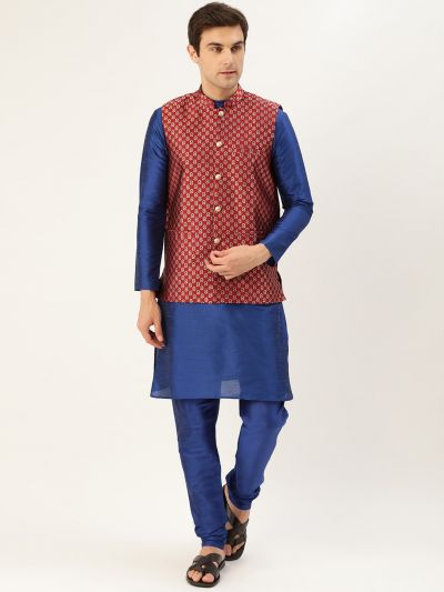 Sojanya (Since 1958) Men's Silk Blend Royal Blue Kurta Pyjama & Maroon Nehrujacket Combo
