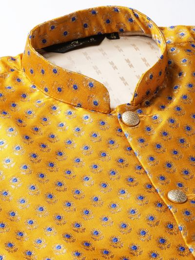 Sojanya (Since 1958) Men's Silk Blend Royal Blue Kurta Pyjama & Mustard Nehrujacket Combo