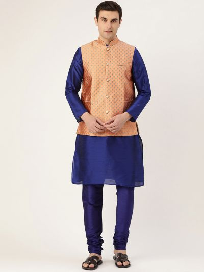 Sojanya (Since 1958) Men's Silk Blend Royal Blue Kurta Pyjama & Peach Nehrujacket Combo