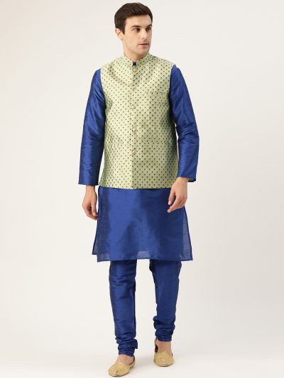 Sojanya (Since 1958) Men's Silk Blend Royal Blue Kurta Pyjama & Pista Green Nehrujacket Combo