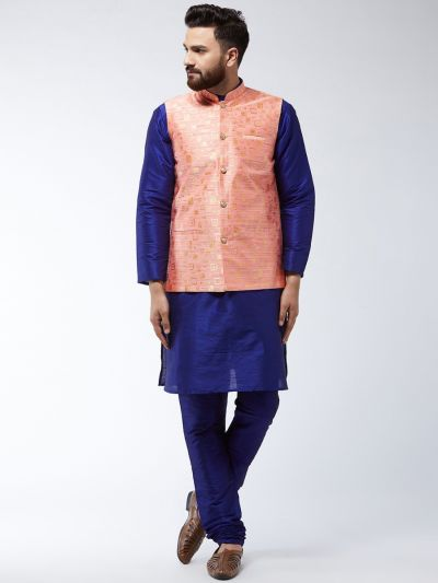 Sojanya (Since 1958) Men's Silk Blend RoyalBlue Kurta Pyjama & Peach Nehrujacket Combo