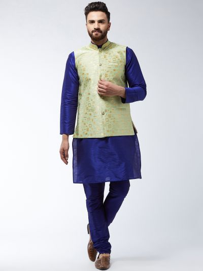 Sojanya (Since 1958) Men's Silk Blend RoyalBlue Kurta Pyjama & Green Nehrujacket Combo