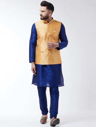 Sojanya (Since 1958) Men's Silk Blend Royal Blue Kurta Pyjama & Mustard Nehrujacket