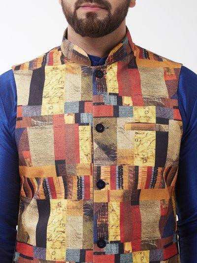 Sojanya (Since 1958), Men's Silk Blend Blue Kurta With Pyjama & Multi Printed Nehrujacket Combo