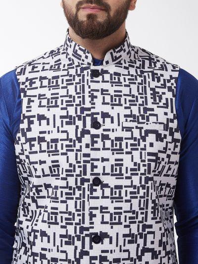 Sojanya (Since 1958), Men's Silk Blend Blue Kurta With Pyjama & NavyBlue Printed Nehrujacket Combo