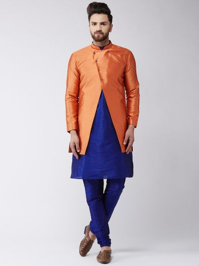 Sojanya (Since 1958), Men's Silk Blend Royal Blue Kurta Churidaar Pyjama & Peach Sherwani Jacket Set