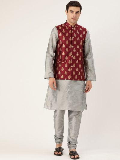 Sojanya (Since 1958) Men's Silk Blend Grey Kurta Pyjama & Maroon Nehrujacket Combo