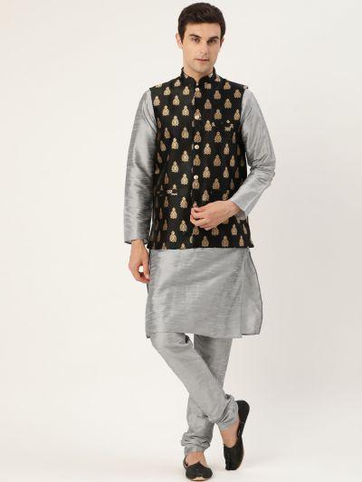 Sojanya (Since 1958) Men's Silk Blend Grey Kurta Pyjama & Black Nehrujacket Combo
