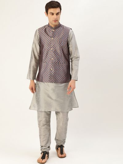 Sojanya (Since 1958) Men's Silk Blend Grey Kurta Pyjama & Charcoal Grey Nehrujacket Combo