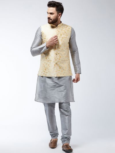 Sojanya (Since 1958) Men's Silk Blend Grey Kurta Pyjama & Beige Nehrujacket Combo