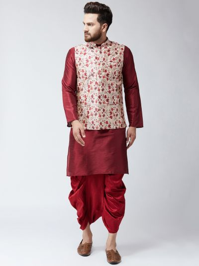 Sojanya (Since 1958), Dupion Silk Maroon Kurta Dhoti and PrintedNehru Jacket Set