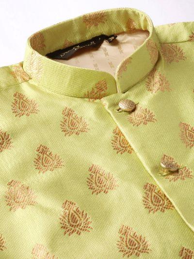 Sojanya (Since 1958) Men's Silk Blend Maroon Kurta Pyjama & Green Nehrujacket Combo