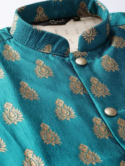Sojanya (Since 1958) Men's Silk Blend Maroon Kurta Pyjama & Teal Blue Nehrujacket Combo