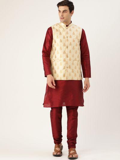 Sojanya (Since 1958) Men's Silk Blend Maroon Kurta Pyjama & Beige Nehrujacket Combo