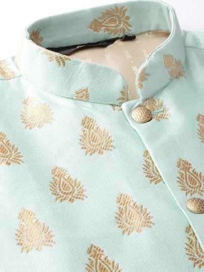 Sojanya (Since 1958) Men's Silk Blend Maroon Kurta Pyjama & Sea Green Nehrujacket Combo