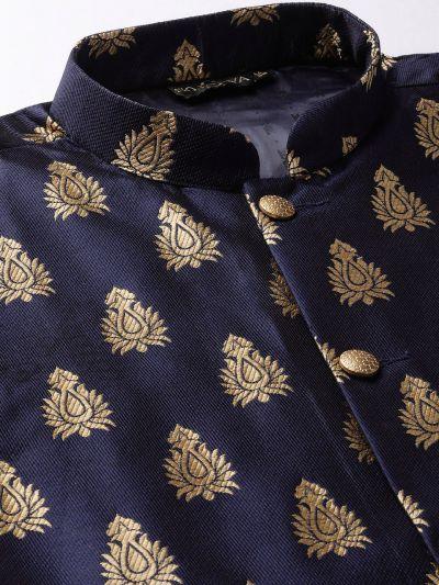 Sojanya (Since 1958) Men's Silk Blend Maroon Kurta Pyjama & Navy Blue Nehrujacket Combo