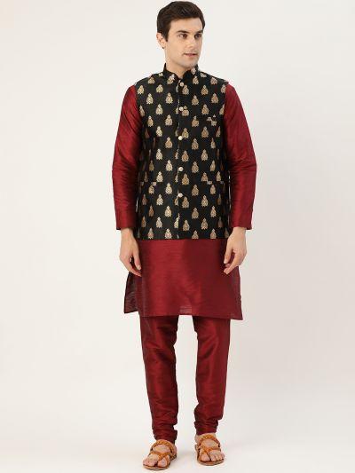 Sojanya (Since 1958) Men's Silk Blend Maroon Kurta Pyjama & Black Nehrujacket Combo