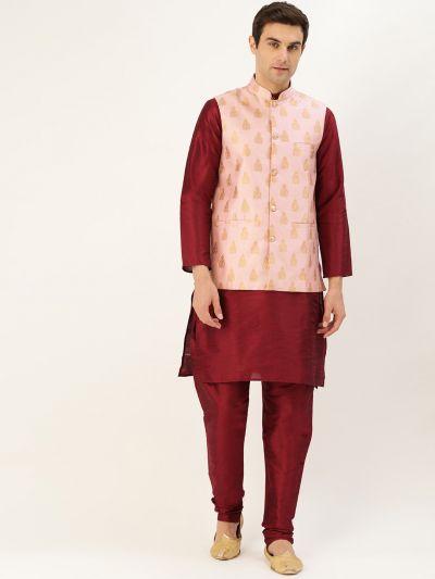 Sojanya (Since 1958) Men's Silk Blend Maroon Kurta Pyjama & Pink Nehrujacket Combo