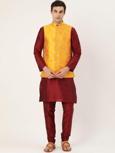 Sojanya (Since 1958) Men's Silk Blend Maroon Kurta Pyjama & Mustard Nehrujacket Combo