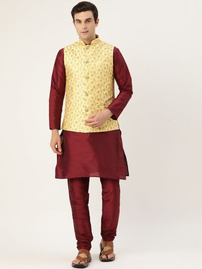 Sojanya (Since 1958) Men's Silk Blend Maroon Kurta Pyjama & LemonYellow Nehrujacket Combo