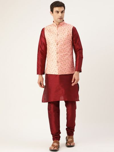 Sojanya (Since 1958) Men's Silk Blend Maroon Kurta Pyjama & Peach Nehrujacket Combo