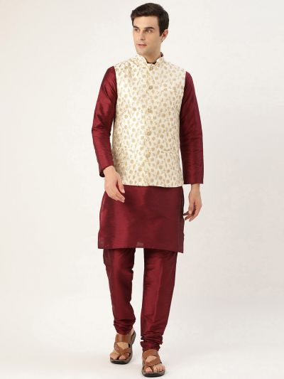 Sojanya (Since 1958) Men's Silk Blend Maroon Kurta Pyjama & Cream Nehrujacket Combo