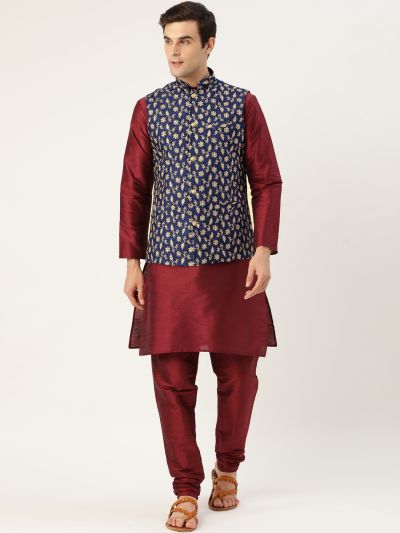 Sojanya (Since 1958) Men's Silk Blend Maroon Kurta Pyjama & Navy Blue Nehrujacket Combo