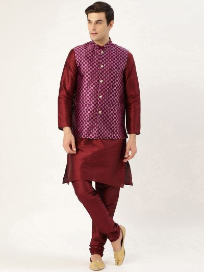 Sojanya (Since 1958) Men's Silk Blend Maroon Kurta Pyjama & Wine Nehrujacket Combo