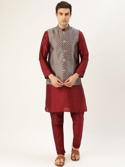 Sojanya (Since 1958) Men's Silk Blend Maroon Kurta Pyjama & Charcoal Grey Nehrujacket Combo