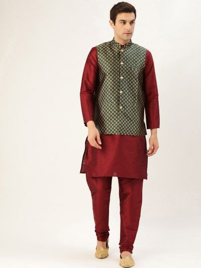 Sojanya (Since 1958) Men's Silk Blend Maroon Kurta Pyjama & Dark Green Nehrujacket Combo