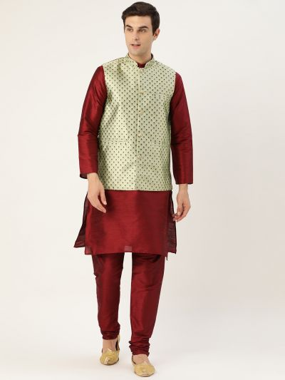 Sojanya (Since 1958) Men's Silk Blend Maroon Kurta Pyjama & Pista Green Nehrujacket Combo