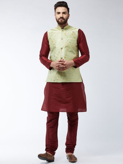 Sojanya (Since 1958) Men's Silk Blend Maroon Kurta Pyjama & Green Nehrujacket Combo