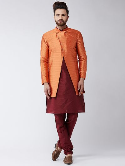 Sojanya (Since 1958), Men's Silk Blend Maroon Kurta Churidaar Pyjama & Peach Sherwani Jacket Set