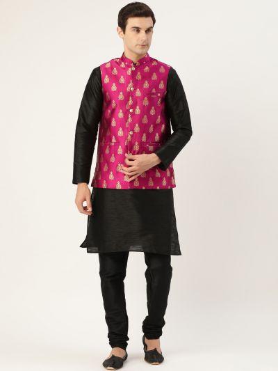 Sojanya (Since 1958) Men's Silk Blend Black Kurta Pyjama & Magenta Nehrujacket Combo