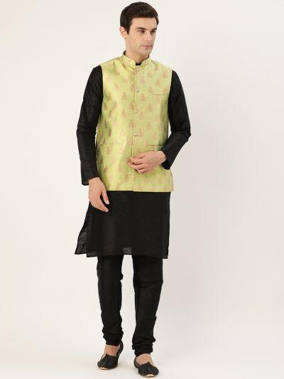 Sojanya (Since 1958) Men's Silk Blend Black Kurta Pyjama & Green Nehrujacket Combo
