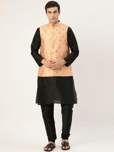 Sojanya (Since 1958) Men's Silk Blend Black Kurta Pyjama & Peach Nehrujacket Combo