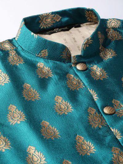 Sojanya (Since 1958) Men's Silk Blend Black Kurta Pyjama & Teal Blue Nehrujacket Combo